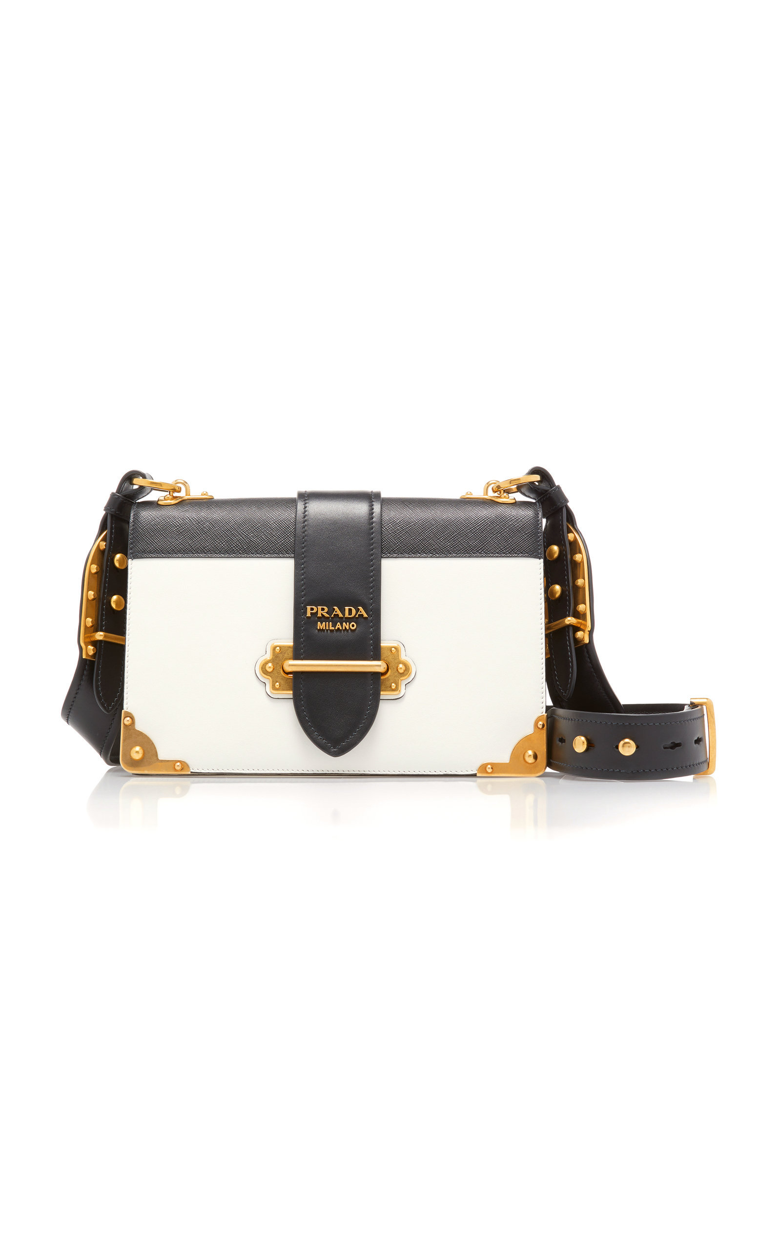 d3dc6afb9091 Cahier Large Two-Tone Leather Shoulder Bag by PRADA Now Available on Moda  Operandi