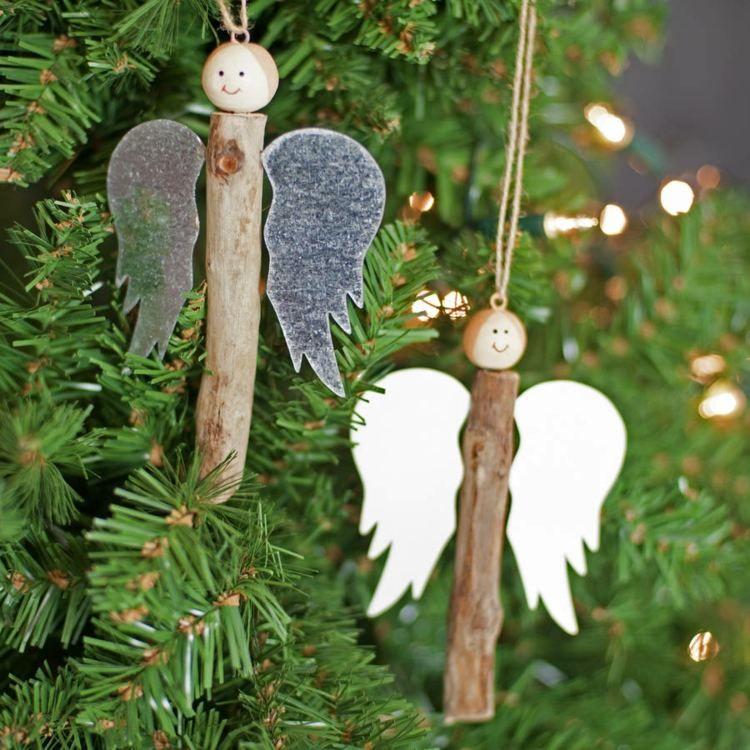 Basteln Sie niediche Engel mit rustikalem Stil aus Stöcken #weihnachtsbastelnnaturmaterialien