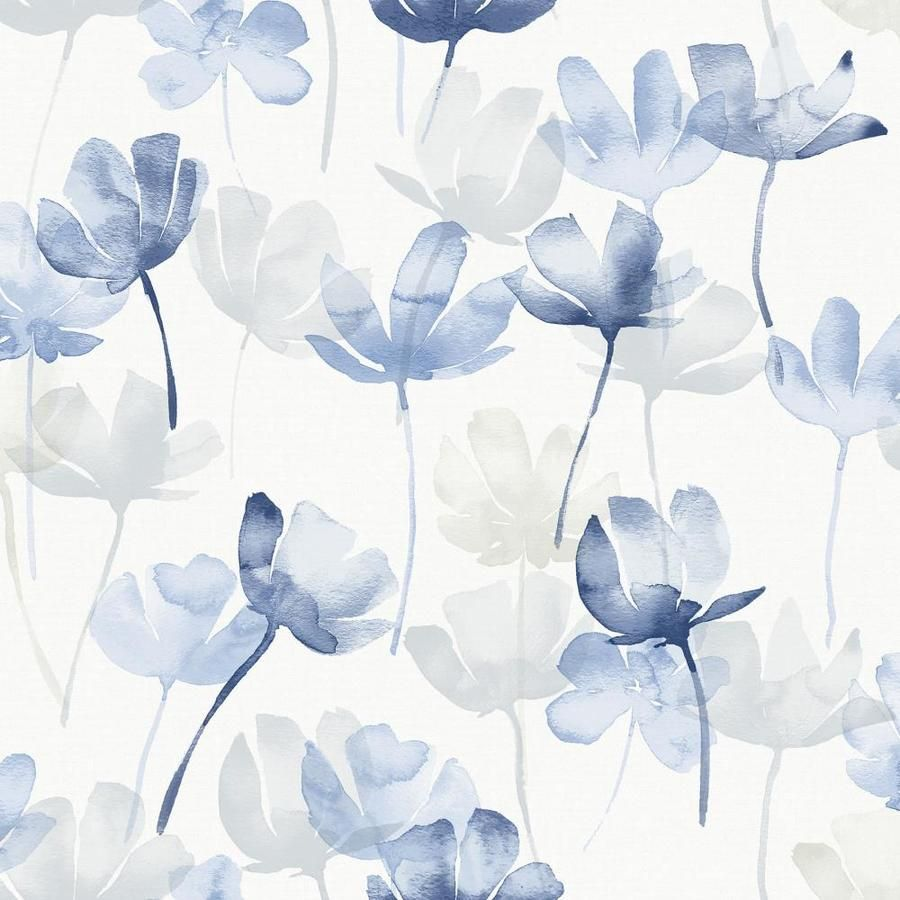 Scott Living 30 75 Sq Ft Blue Vinyl Floral Self Adhesive Peel And