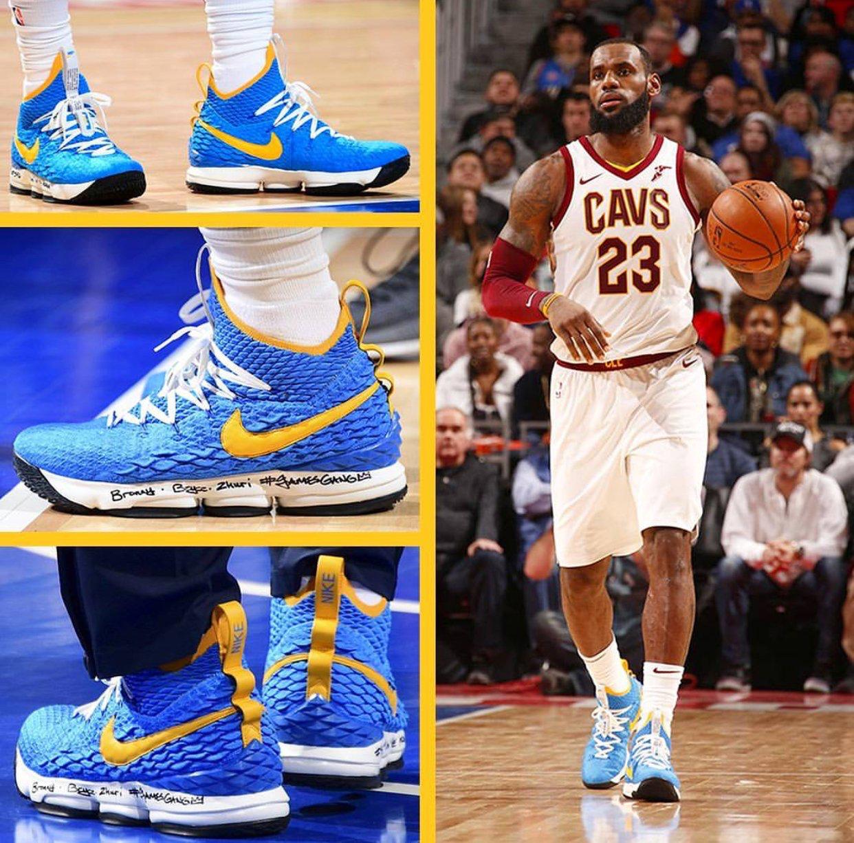 "#LeBronJames con sus #Nike #LeBron 15 ""Waffle Trainer"" PE. #"