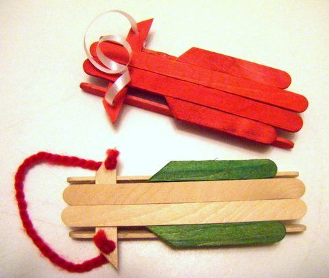 Kids christmas crafts popsicle stick sled ornament for Christmas projects with popsicle sticks