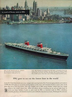 An ad for the S.S. United States from 1958. Here she is seen in New York Harbor.