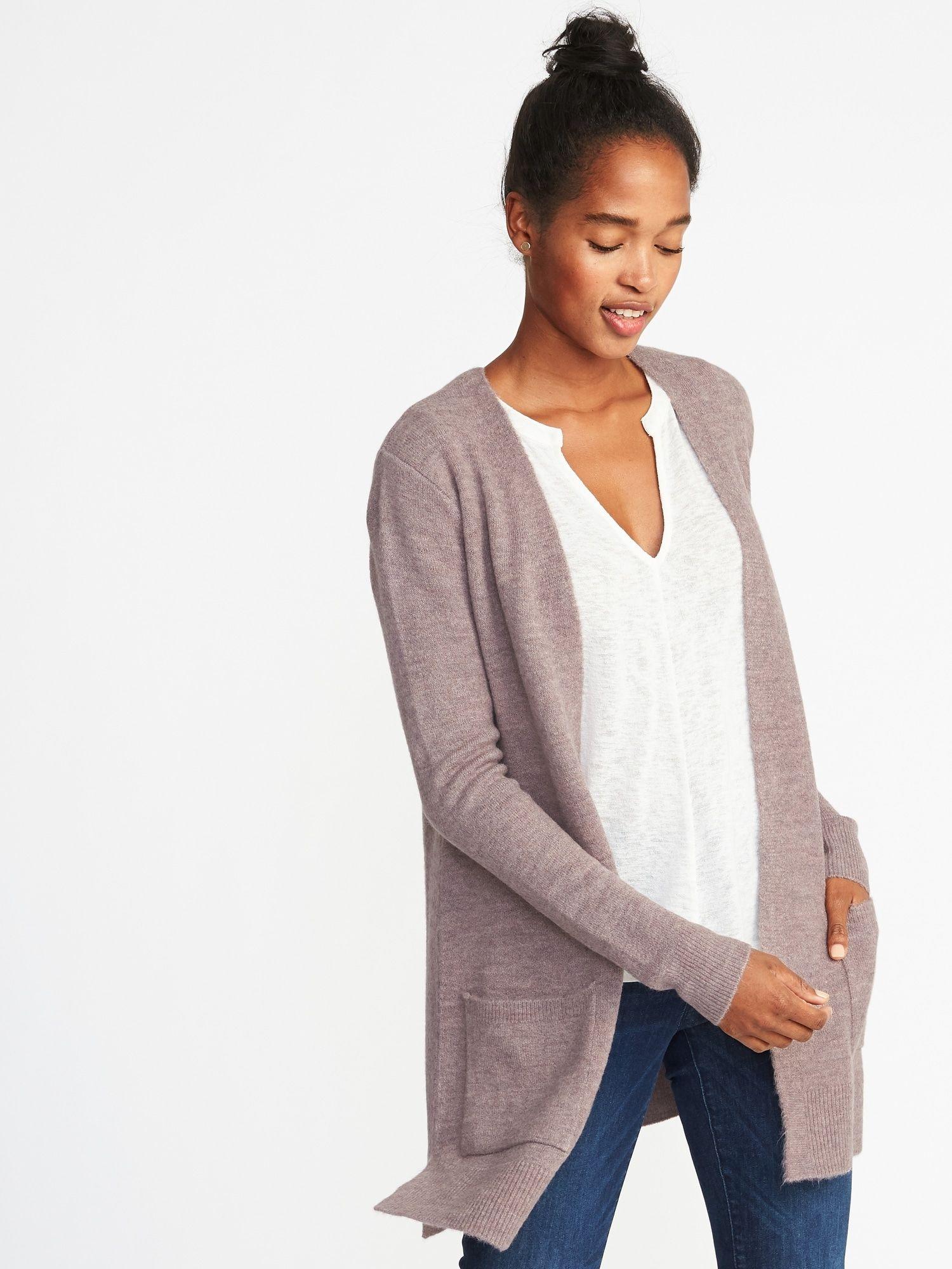 Plush,Knit Long,Line Open,Front Sweater for Women