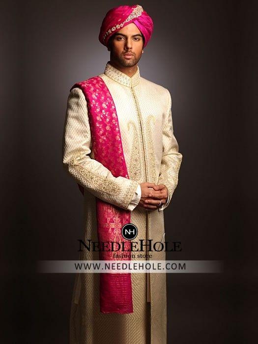 Pakistani wedding sherwani for groom in ivory color, beautiful ...