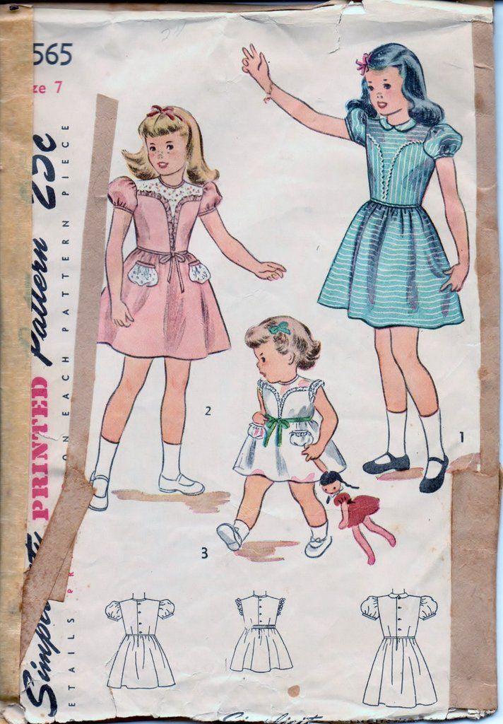 Simplicity 2565 Little Girls Back Buttoned Dress Vintage 1940\'s ...