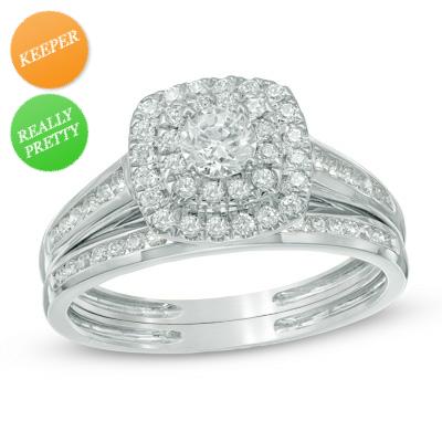 Zales: 3/4 CT. T.W. Diamond Double Frame Bridal Set in 10K White Gold