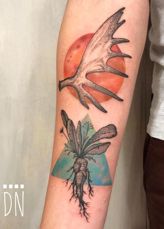 Moose Antler Tattoo : moose, antler, tattoo, Moose, Antler, Horseradish, Tattoo, InkStyleMag, Tattoos,, Antlers,, Artists