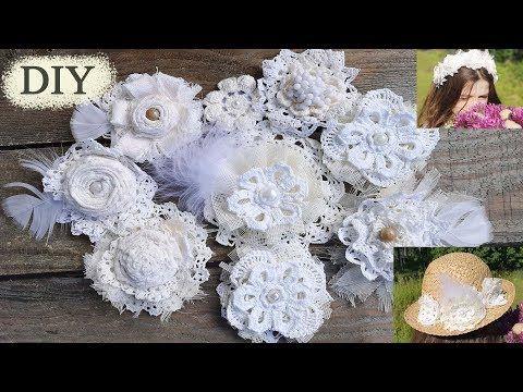 Цветы из ткани и кружева. Шебби шик. Винтаж.Shabbychic flower tutorial. - YouTube