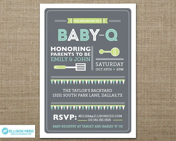 bbq baby shower invitation - baby q shower - bbq inviation,