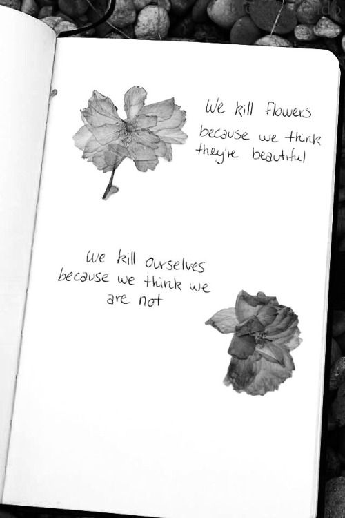 We kill flowers because they are beautiful but we kill ourselves because we think we are not.