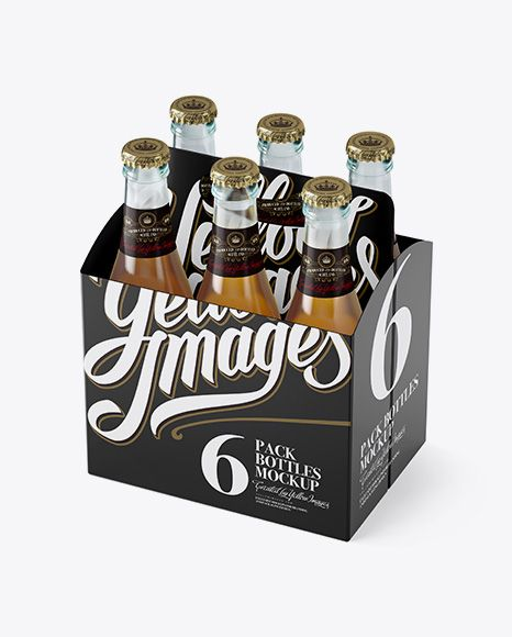 White Paper 6 Pack Beer Bottle Carrier Mockup - Halfside View (High-Angle Shot) (Preview)