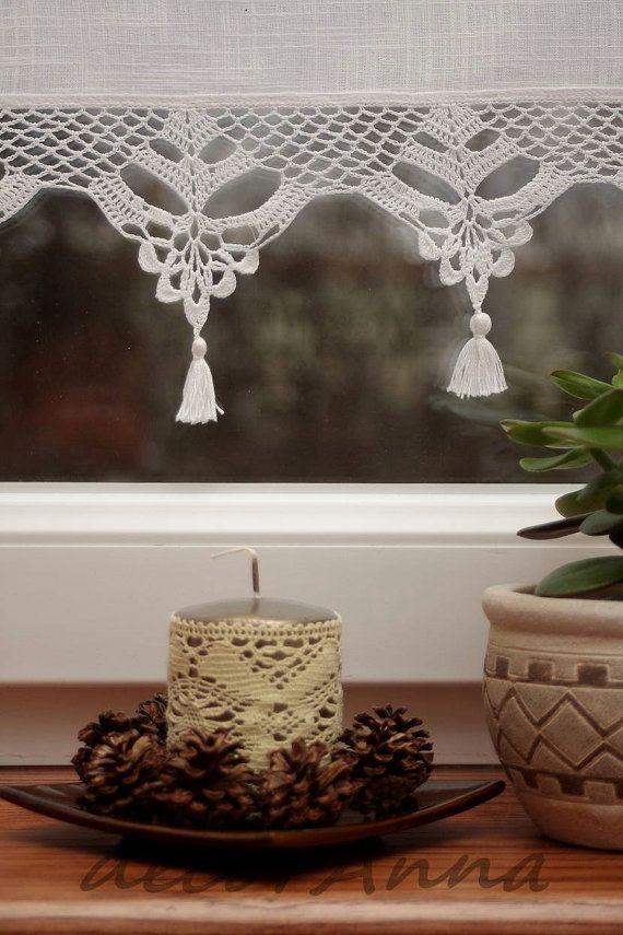 Crochet curtain, curtain with crochet lace, cafe curtain, valance