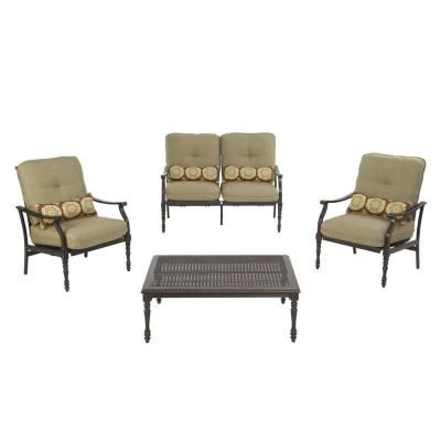 Martha Stewart Living   Pembroke Patio Seating Set   Set Includes 2  Stationary Rockers, 1 Loveseat And 1 Coffee Table, With Rust Resistant  Aluminum Frames ...