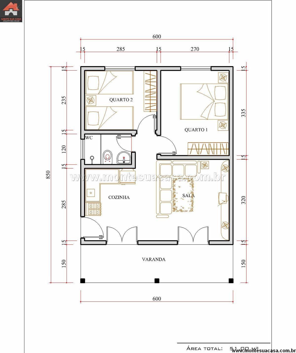 Casa 2 quartos 51m projetos e arq pinterest for Casa moderna 2 andares 3 quartos