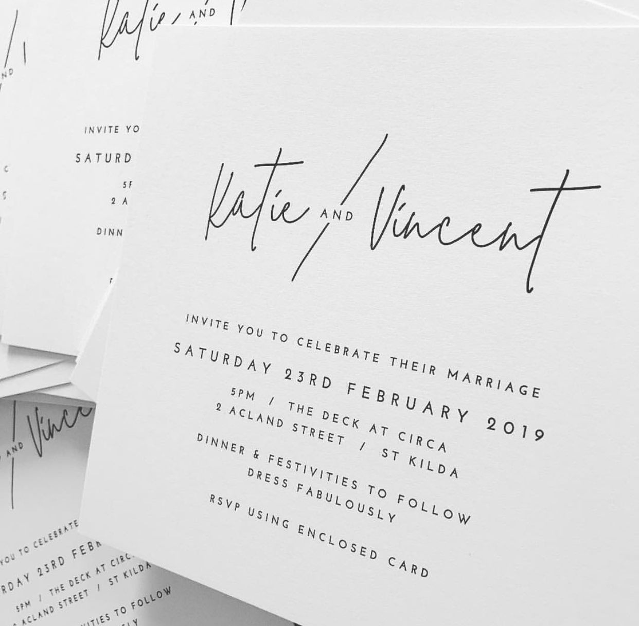 Modern minimal black and white wedding invitation | WEDDING ...
