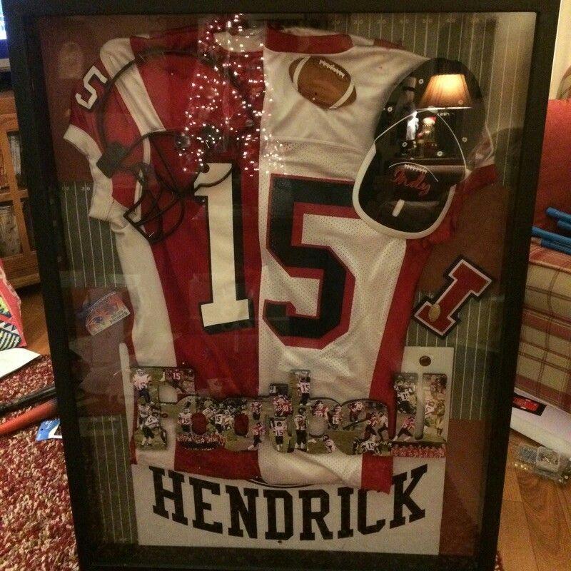Chris's football shadow box. Boyfriend gift ideas