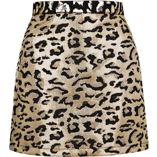 e9696452c376 TOPSHOP PETITE Metallic Leopard Print A-Line Skirt ($30) ❤ liked on  Polyvore featuring skirts, topshop, gold, petite, high waisted knee length  skirt, ...