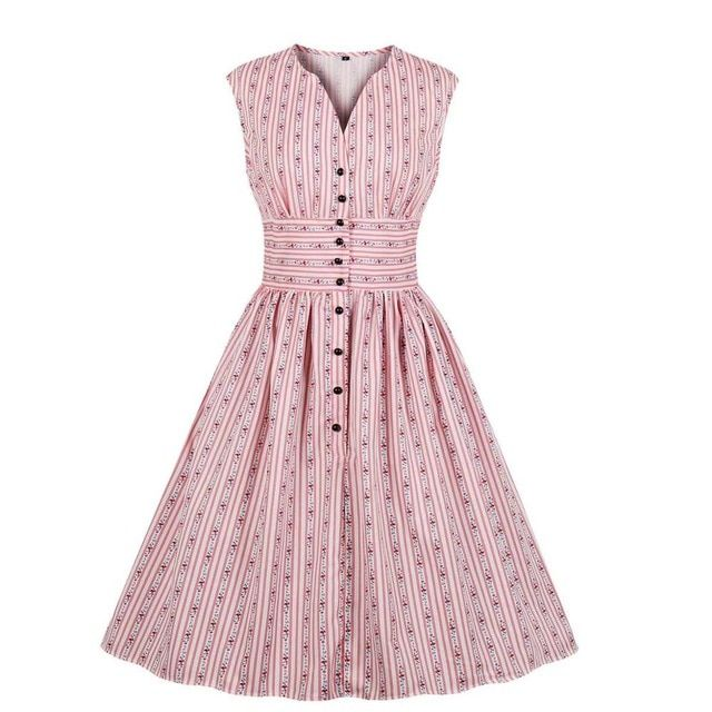 Women dresses slit split neck floral print vestido high waist button down swing midi pin up 1940s day vintage tea dress - Vintage rockabilly dress, Vintage tea dress, Vintage dresses, Vintage pink dress, Sleeveless swing dress, Rockabilly dress - Product Specifics GenderWomenMaterialPolyester,SpandexStylevintageSilhouetteFit and FlarePattern TypePrintSleeve Length(cm)SleevelessDecorationButtonDresses LengthMidCalfSleeve StyleREGULARWaistlineempireNecklineVNeckSeasonSummer