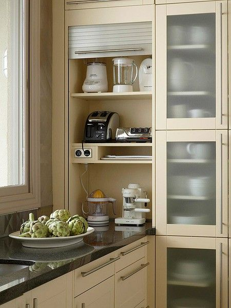 Small Appliance Center With Outlet Small Appliances, Home Appliances,  Kitchen Appliance Storage, Corner