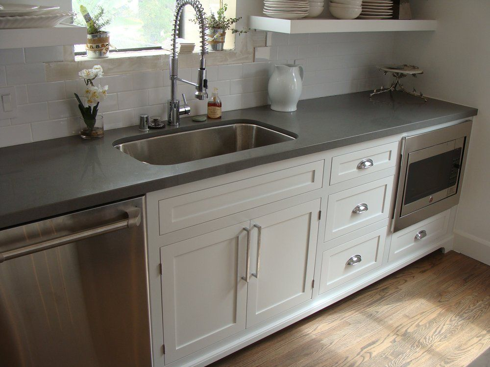 shaker style cabinets and concrete gray quartz countertop On style kitchen countertops