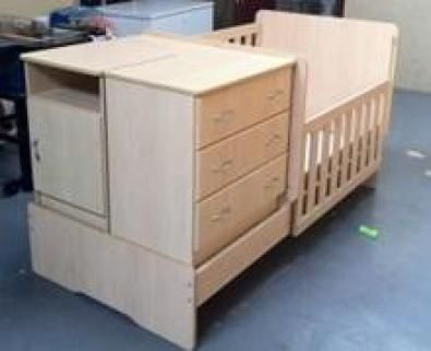 Beige Wooden Room In A Box Baby Cot Perfect Condition Splits Into