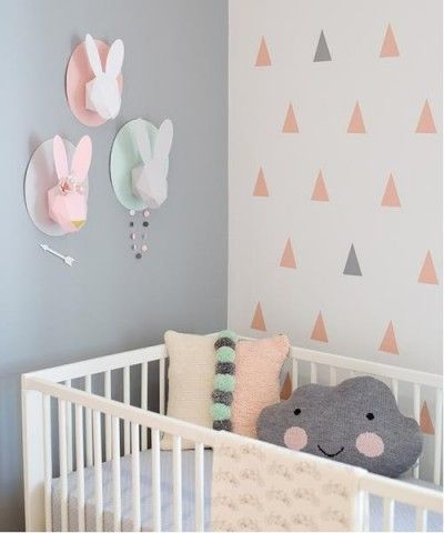 Decoracion bebes habitacion en rosa gris1 peanuts - Decoracion habitaciones de bebe ...