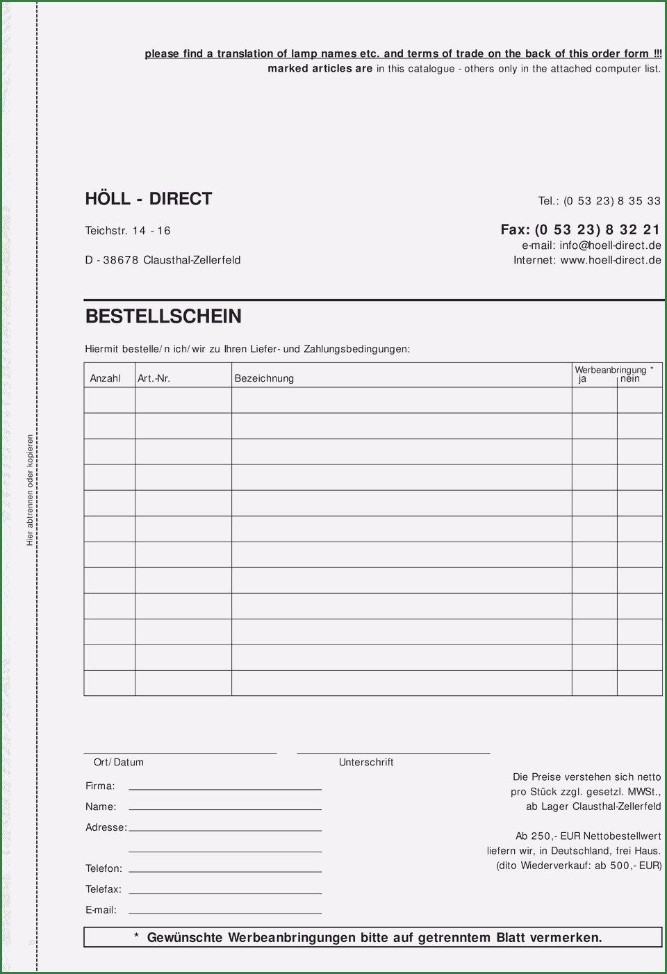 Bestellformular Vorlage Fur Deine Bestellung