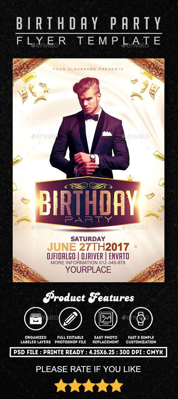 Birthday Party Flyer Template 1 Party flyer, Flyer template and