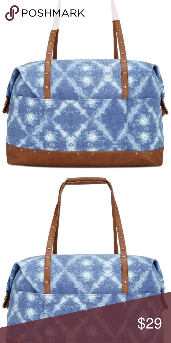 Women s X-large Weekender Duffle Bag Tie dye print canvas Brown faux leather  Top zip closure Interior zip pocket, 2 interior slip pockets Exterior 2  slip ... 034fd29c29