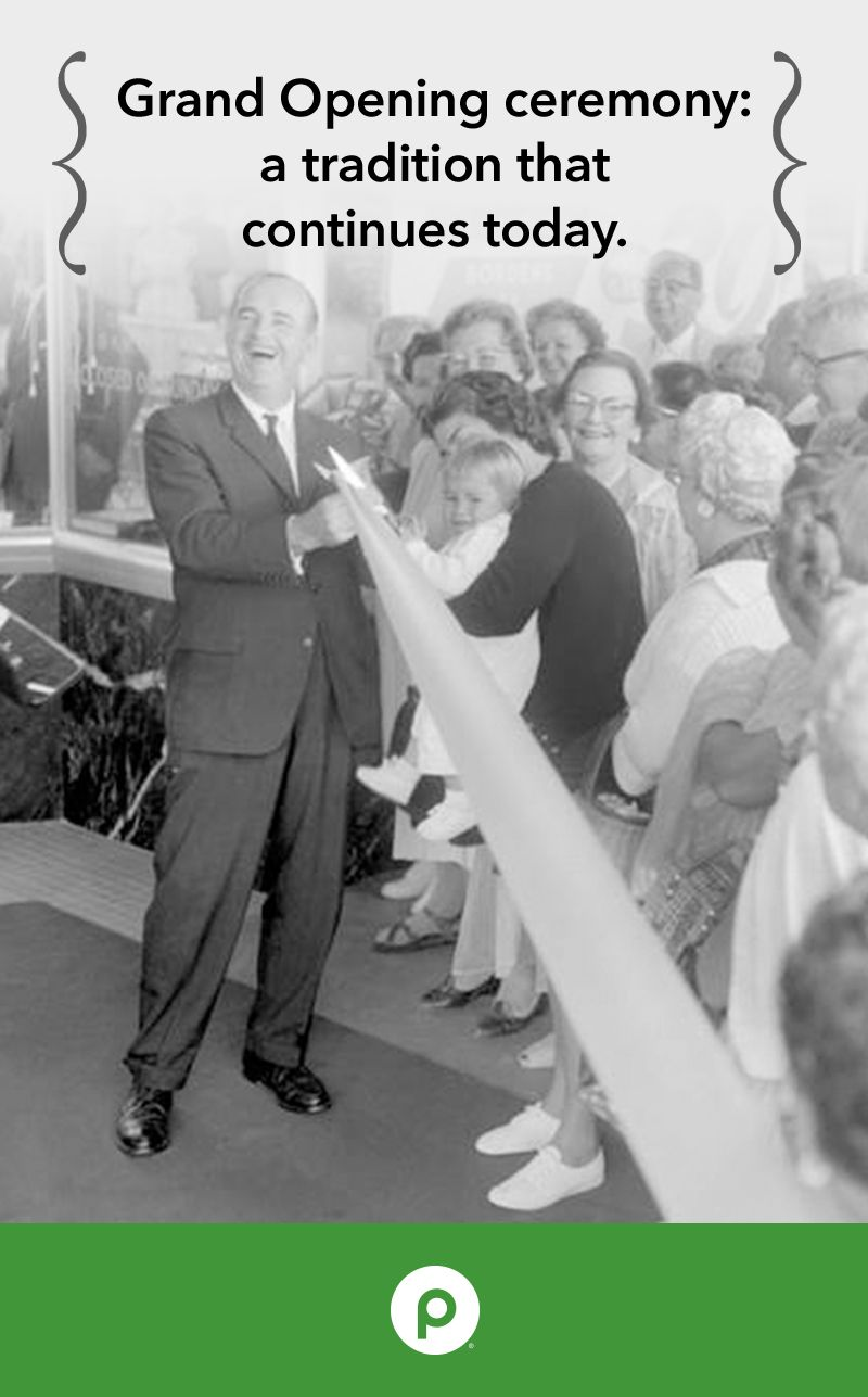 We host a Grand Opening for each new Publix store, involving events from speeches to ribbon cuttings like the one featured in this image. It's led by our founder, George W. Jenkins. His smile reflects the excitement we still feel today.