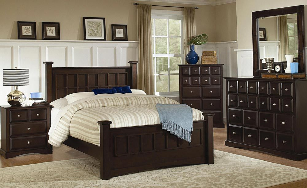 Coaster Harbor Panel Bedroom Set - Rich Cappuccino Finish with Brushed Chrome Accents