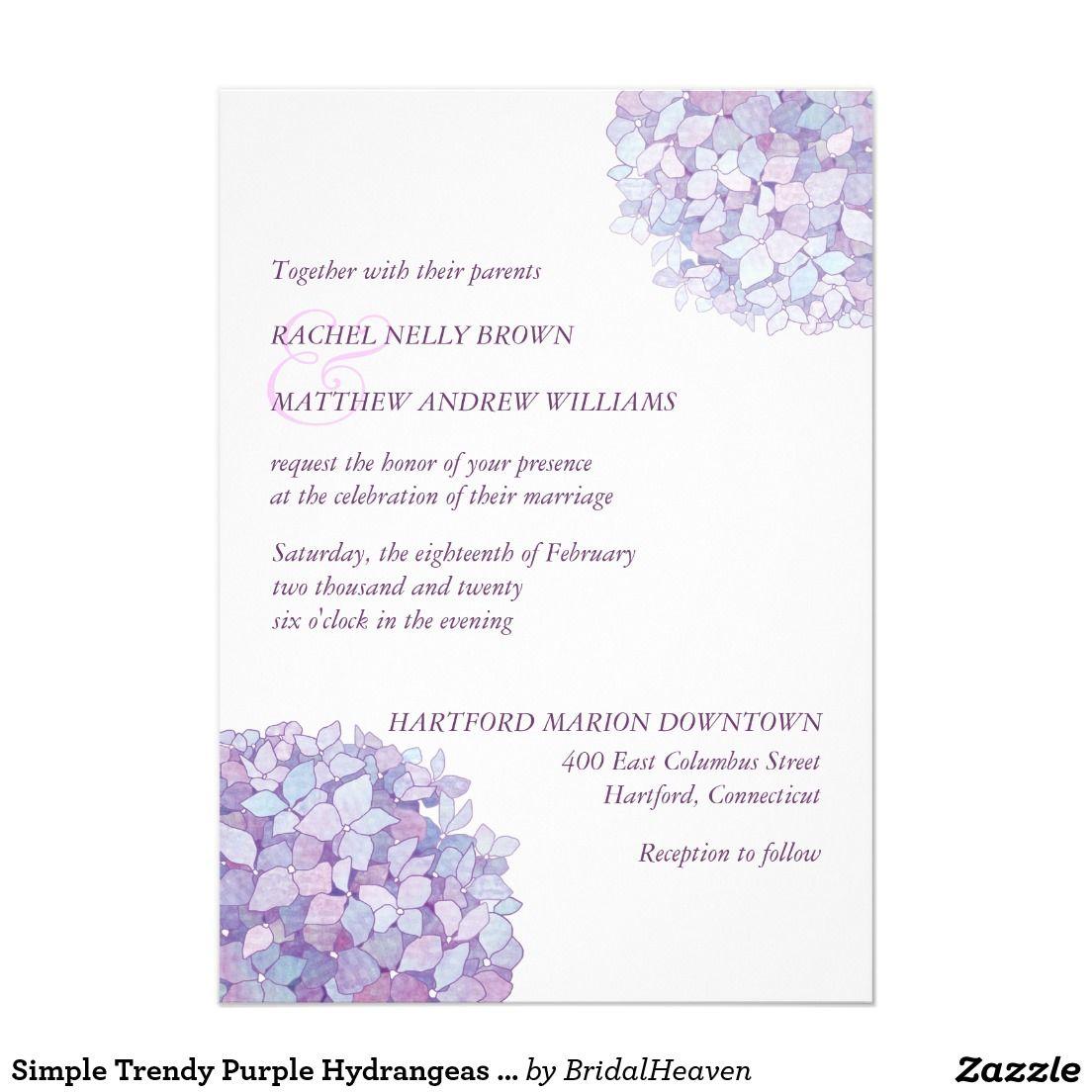 Purple hydrangea wedding invitation sample - Purple Simple Trendy Purple Hydrangeas Wedding Invitation