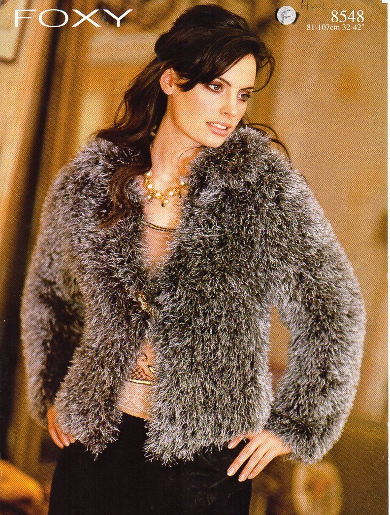 Womens furry jacket knitting pattern pdf ladies fur cardigan 42-42 ...