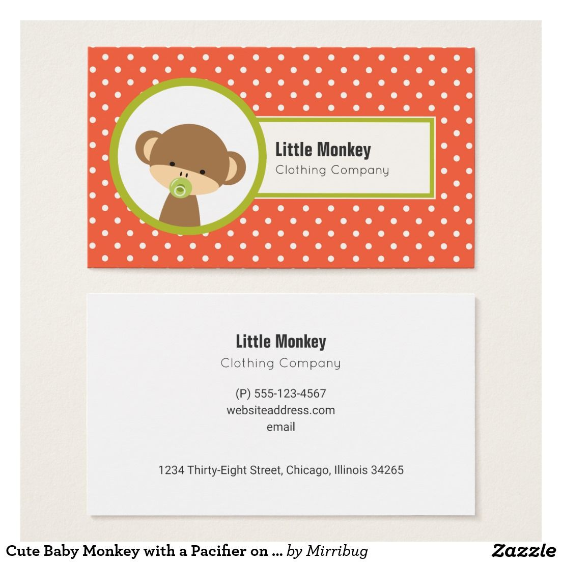 Cute Baby Monkey with a Pacifier on Polka Dots Business Card ...
