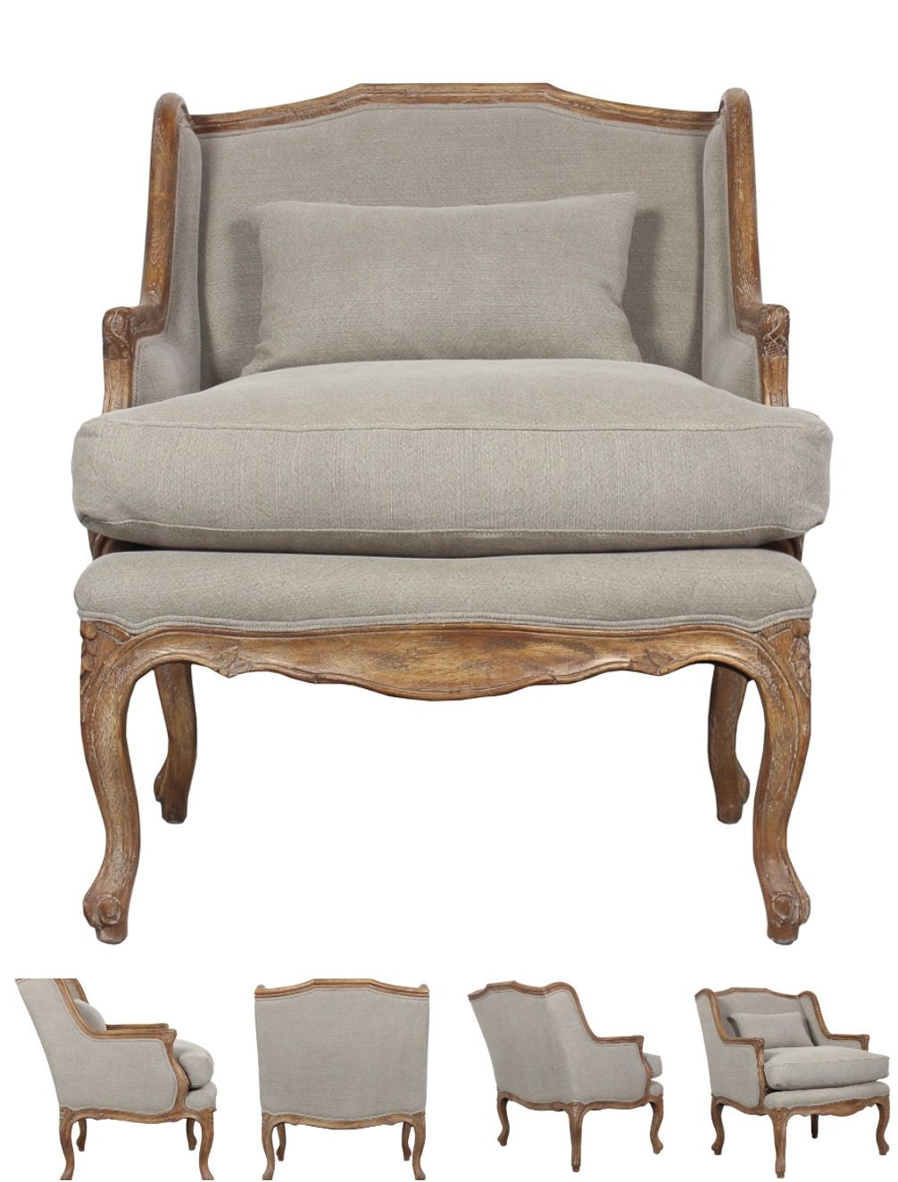 Lounge Salon Chair Carved Frame Option