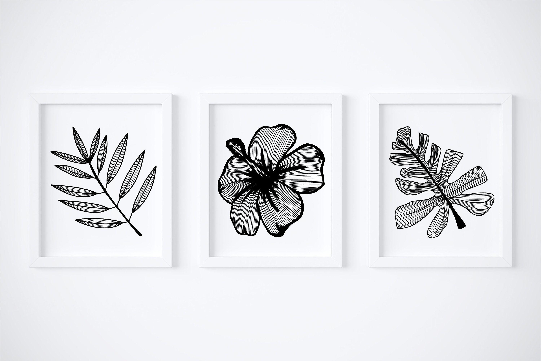 Set of three black and white hawaiian hibiscus flower and tropical set of three black and white hawaiian hibiscus flower and tropical leaf line art print printable digital download izmirmasajfo