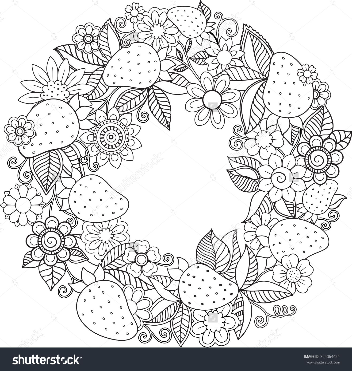 Decorative wreath with strawberries and flowers colorir