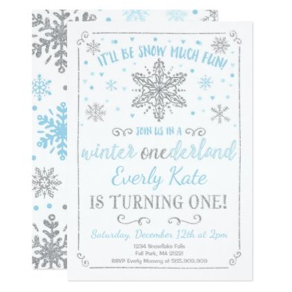 Winter Onederland Birthday Invitation Blue Silver  Invitation Ideas