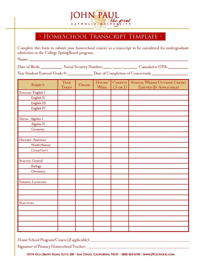 Homeschool Report Card Template Free Ideas For High School Throughout Report Card Template Middl School Report Card Homeschool Transcripts Report Card Template