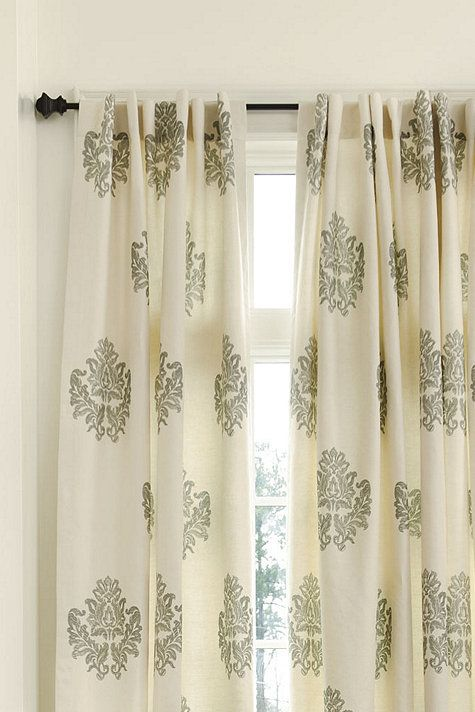 Bingham Printed Damask Panel With Images Traditional Curtains
