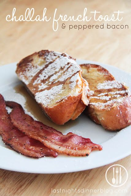 challah french toast and peppered bacon // last night's dinner http://www.lastnightsdinnerblog.com