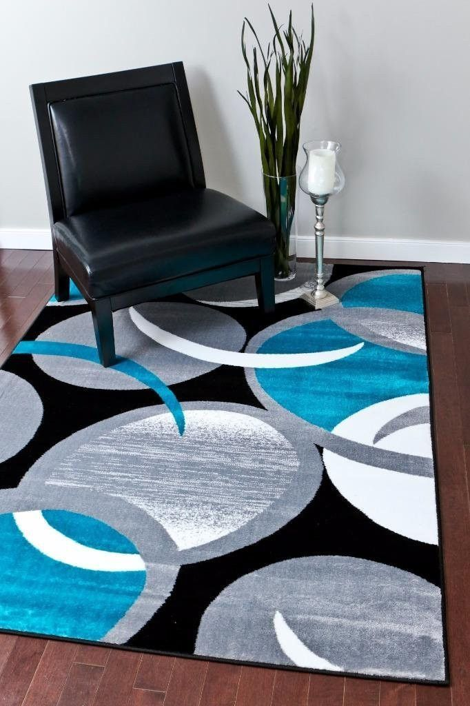 Gray And Turquoise Living Room Decorating Ideas: Modern Trendz Turquoise Gray Black Contemporary Rugs