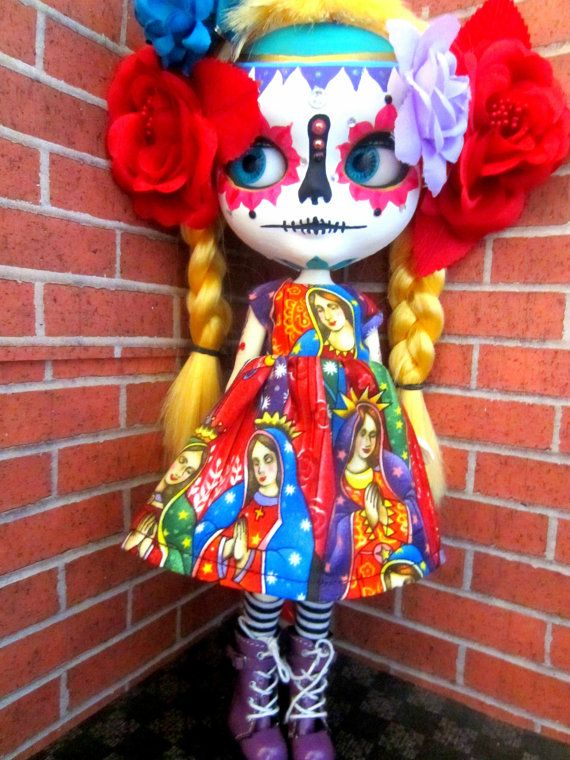 Custom Blonde Calavera Sugar Skull Blythe Doll by shepuppy on Etsy, $300.00