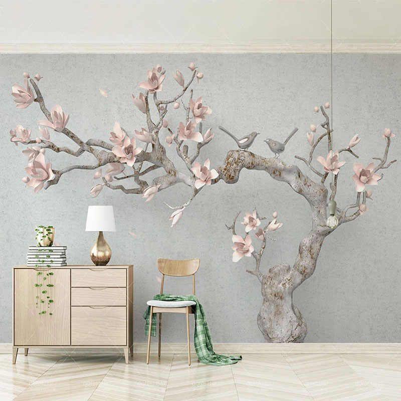 3D Wallpaper Modern Stereo Pink Magnolia Tree Branch Photo Wall Murals Living Room TV Sofa Bedroom Home Decor Background Fresco