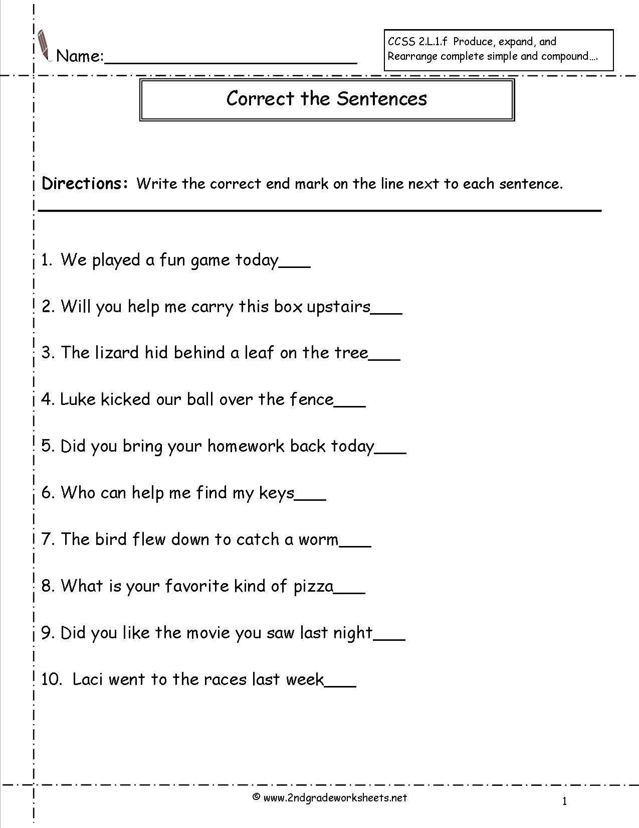 Second Grade Sentences Worksheets [ 1650 x 1275 Pixel ]