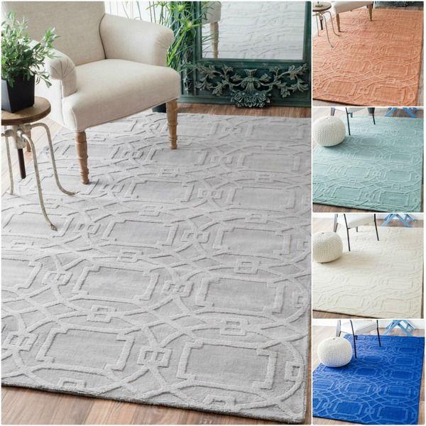 Nuloom Handmade Abstract Trellis Wool Rug 7 6 X