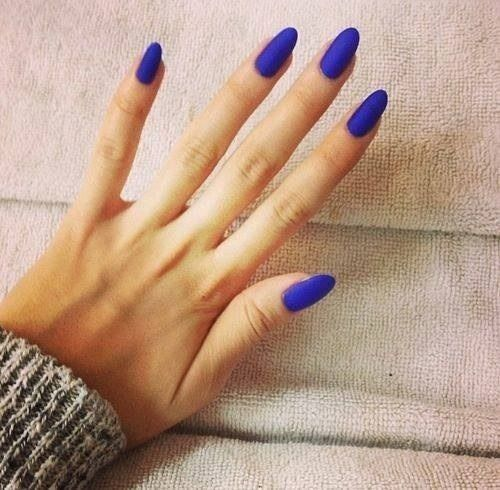 Electric Blue Almond Shaped Nails Wow I M Loving This Nail Art Colorful Best Manicure Cool Fashion Love It