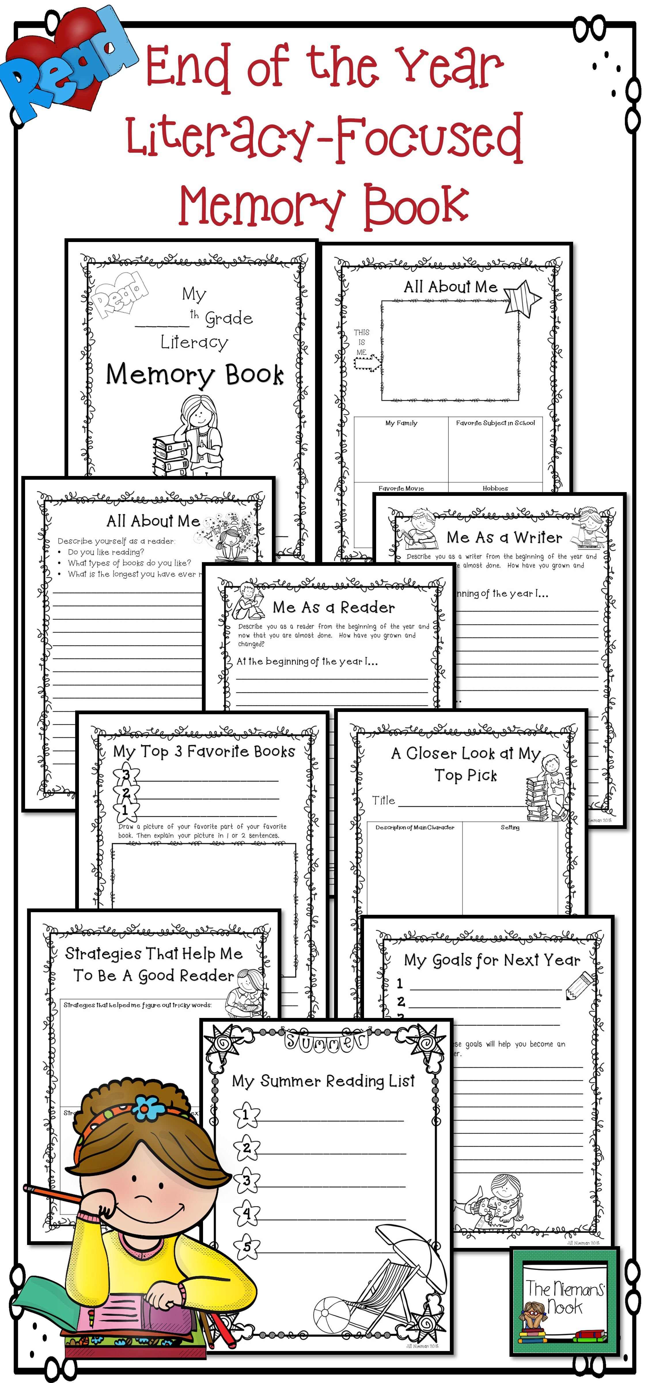 End Of Year Activities Literacy Memory Book