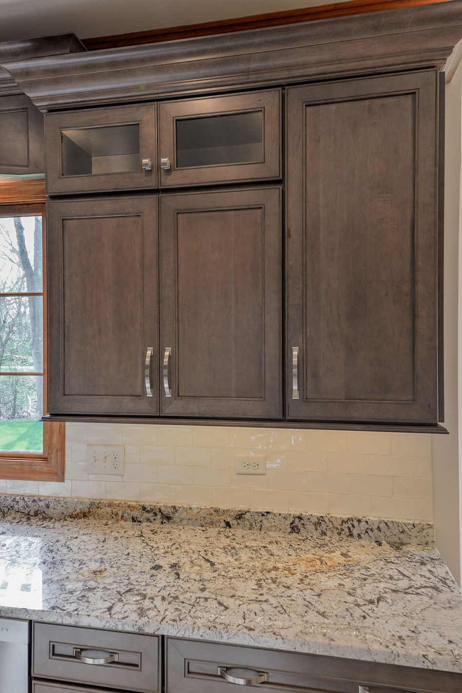 Glass Countertops Grey Stained Kitchen Cabinets Lighting Flooring - Light grey stained kitchen cabinets