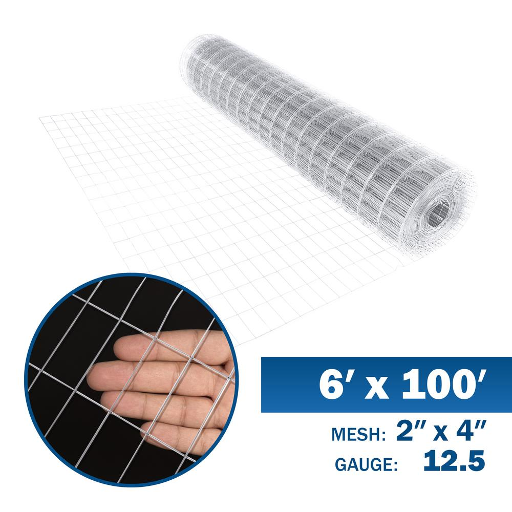 Fencer Wire 6 Ft X 100 Ft 12 5 Gauge Welded Wire Fence With Mesh 2 In X 4 In Wb125 6x100m24 The Home Depot In 2020 Welded Wire Fence Wire Fence Fencer Wire